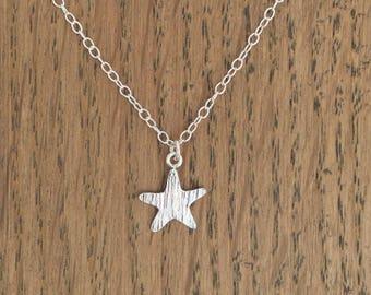 Silver textured star necklace, hallmarked