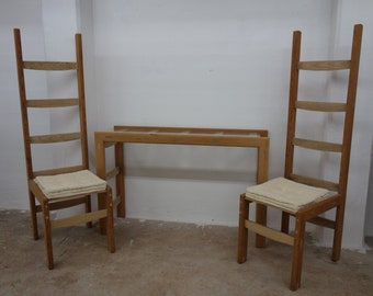 Set of 4 wooden chairs and 1 table made of old ladders