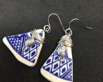 Chipped China Dangle Earrings