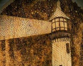 Lighthouse - Pyrography Wood Burning Digital Art Print