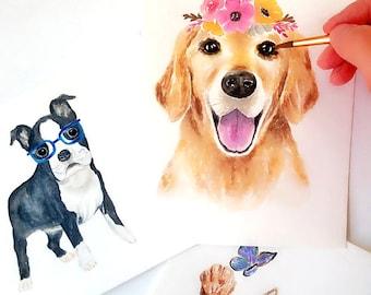 Custom Pet Portrait, Dog Portrait, Cat Portrait, Rabbit Portrait, Watercolor Animal Portrait, Pet Loss Gifts, Pet Memorial