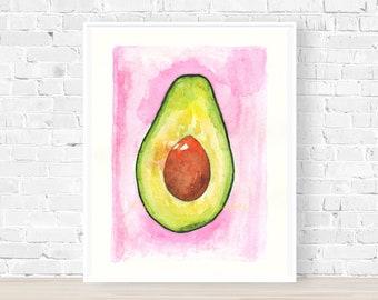 Avocado Print, Watercolour Avocado, Watercolour Fruit Print, Food Watercolour Art, Kitchen Print, Art for Home, Housewarming Gift
