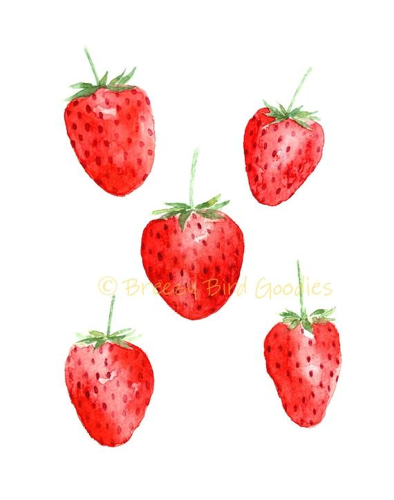 Erdbeeren Aquarell Erdbeere Frucht Küche Druck buntem Obst | Etsy