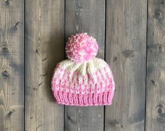 Baby Knit Winter Hat w yarn pom pom bright bluetanorange