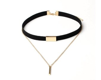 Black velvet choker necklace with gold chain