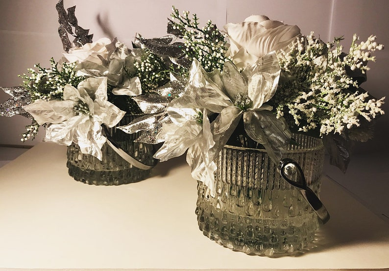 Set of Two Holiday Custom Floral Arrangements in Glass Bucket