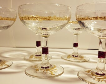 Beautiful Hand Painted Coupe Champagne Glasses Set of 6!