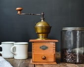 Vintage Leinbrock 39 s Ideal Wood and Brass Tabletop Coffee Grinder Made in Germany Farmhouse Kitchen