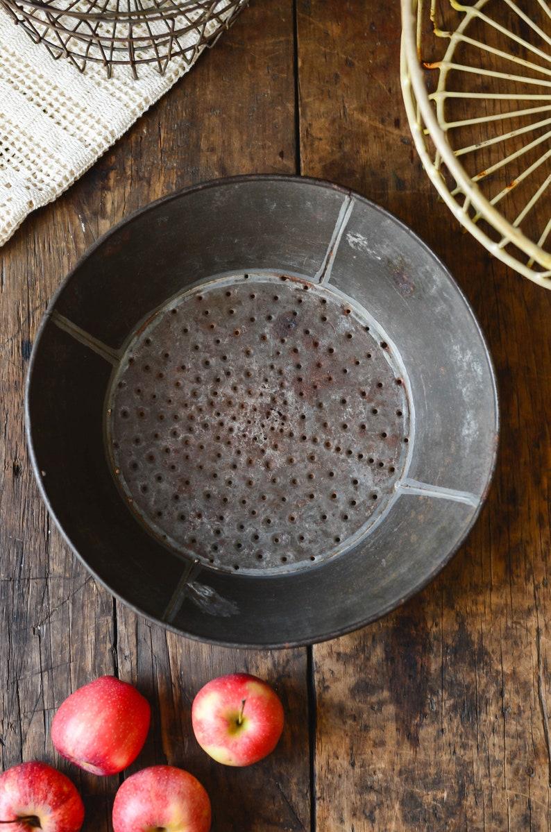 Antique Tin Pan Strainer Farmhouse Kitchen Decor