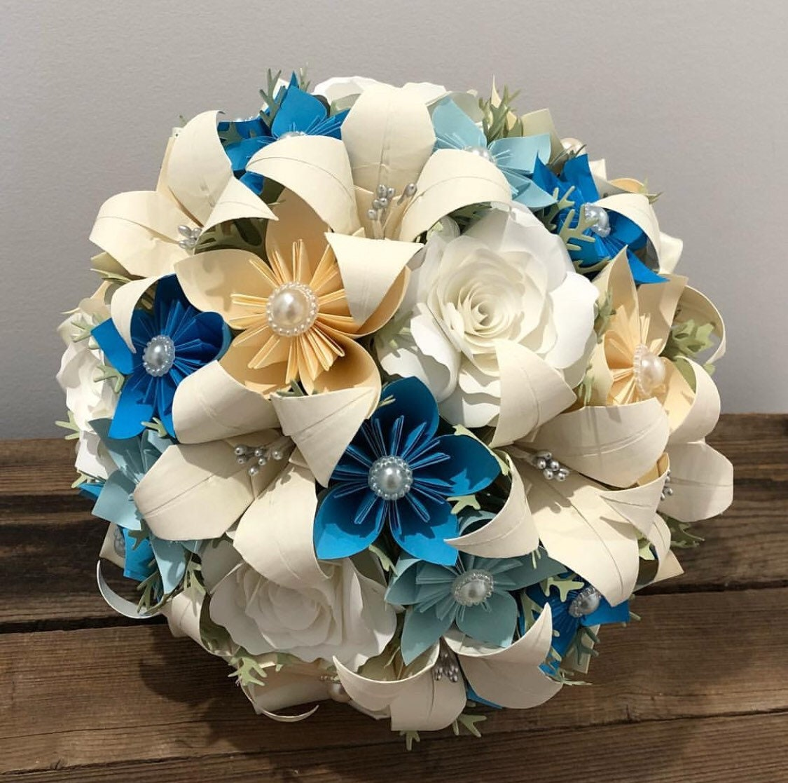Cream ivory and turquoise flower bouquet handmade paper etsy zoom izmirmasajfo