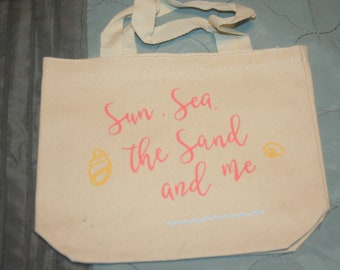 Med-large canvas tote heat pressed