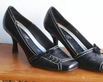 0b2e820e753 Vintage Franco Sarto Black Leather Shoes US Size 5 1 2 EU 36