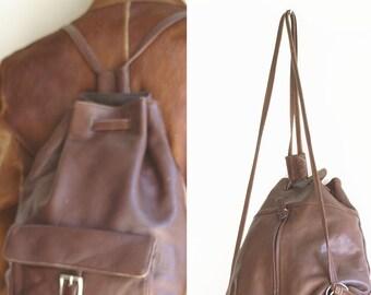 f1befe16a8c4 Vintage Liz Claiborne Brown Leather Backpack Bag US One Size