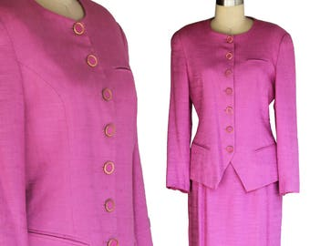 Vintage 80s Kate McNaughton Pretty-in-Pink Linen Suit, Fitted  Blazer and skirt set, US Size 10