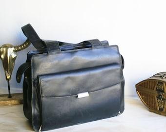 fa6bb702f5dc Vintage 90s Black Leather Computer Laptop bag