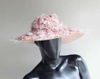 ad59f3675166c Vintage Jack McConnell Red Feather One-of-a-Kind original iridescent Pink  Floral Hat US One size