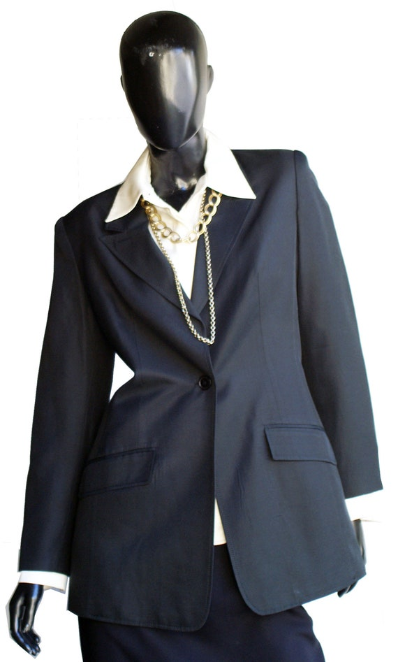 Vintage Halston Single Button Silk Blazer  Size 10 - image 3
