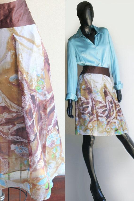 Beautiful Vintage 90s Betsey Johnson Floral Chiffon Skirt Size Large