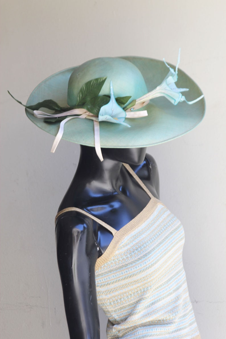 Vintage Irene  of New York Mint Green Straw Hat with Floral Embellishments US One Size
