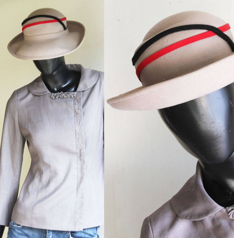6569d842a Vintage Geo. W Bollman Excello Beige Hat with Black/Red detailing. One Size
