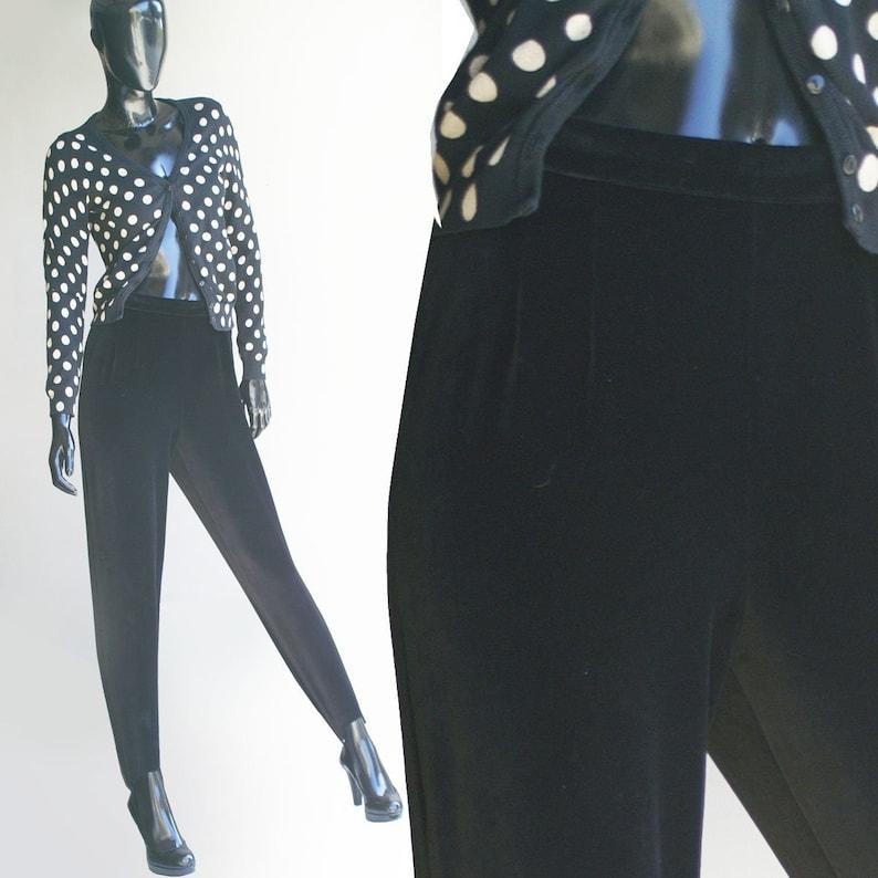 6a6d99a40578d Vintage Liz Claiborne Black Velvet Stir-up Pants US Size 8 | Etsy