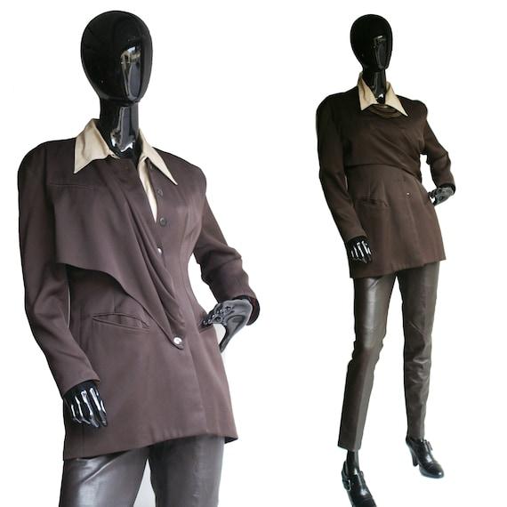 Vintage Vertigo  Pour la Ville Womans Brown Avand Garde Blazer  Size Tagged Large