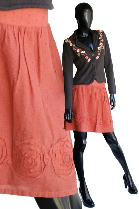 Vintage 80s Willi Smith Burnt Orange Cotton Skirt