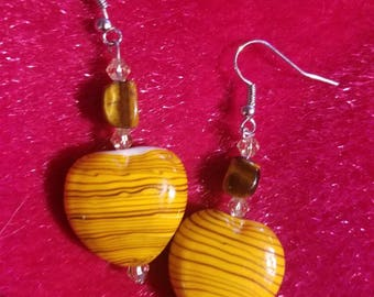 Tigers Eye with Yellow Heart Earrings