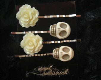 Skulls and Roses hair pins