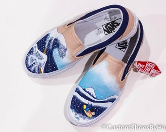 1da77f3768ae1a The Great Wave off Kanagawa featuring Lilo and Stitch Hand Painted Shoes