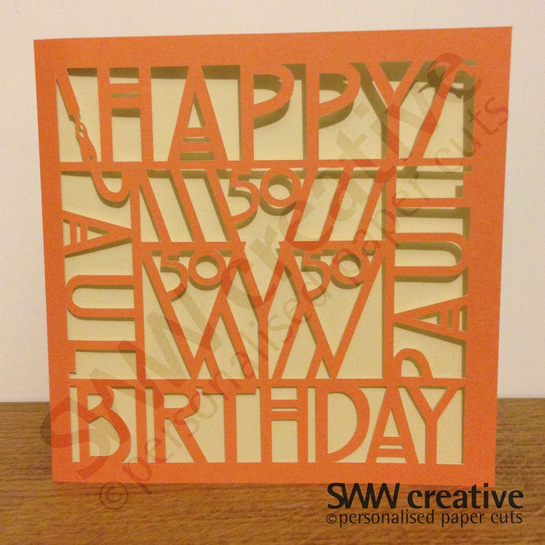 Personalised Happy Birthday Paper Cut Greetings Card Art
