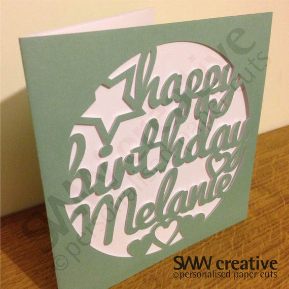 Personalised Happy Birthday Paper Cut Greetings Card Stars