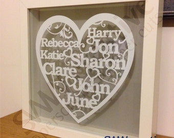 Personalised Family Tree Framed Paper Cut Gift  |  Bespoke Heart Design  |  Present of Parents  |  Great for large families  |  250mm sq