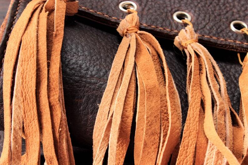 Leather boho shoulder bag hipster hippie crossbody bag tote gypsy messenger handmade women casual fringe bag brown purse pouch T51