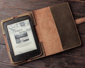 Leather Kindle Paperwhite cover, leather Kindle Oasis case, Kindle Voyage leather case, hand sewn stitch, ereader custom case notebook T54
