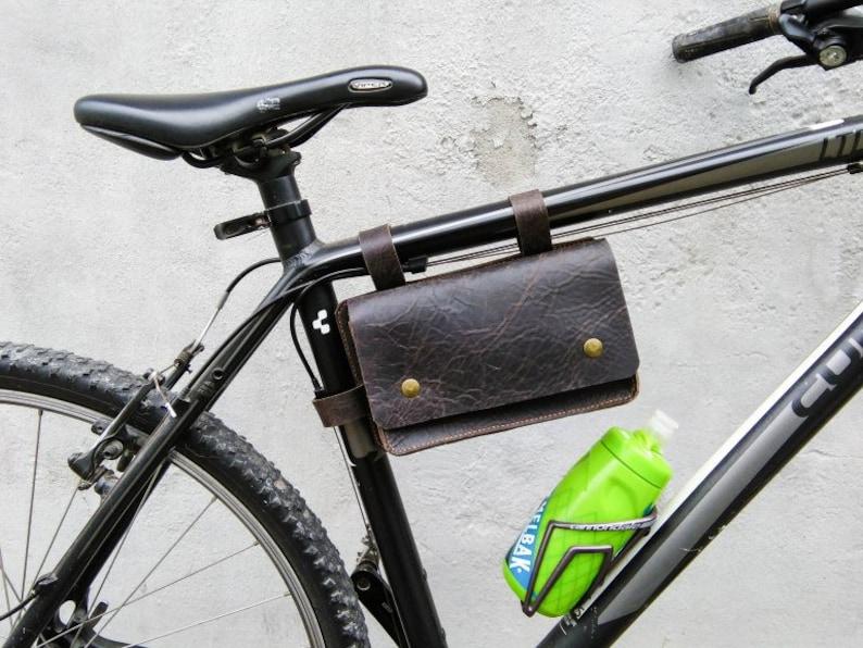 Leder Fahrrad Satteltasche Radfahren Fahrrad Zubehör Fahrrad Werkzeugtasche Leder Lenkertasche Rahmentasche Tasche Outdoor Ledergeldbörse