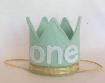 First Birthday Aqua and Gold Mini Birthday Crown