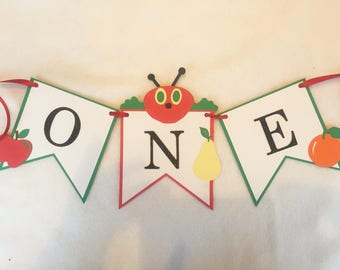 The Very Hungry Caterpillar, Hungry Caterpillar High Chair Banner, Hungry Caterpillar Highchair Banner, One High Chair Banner, One Banner