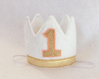 Wild One Girls Crown, Mini Felt Crown, Cake Smash Crown, Birthday Crown, Gold White Birthday Hat, White Gold Peach Felt First Birthday Crown
