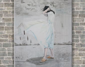 WOMEN in a white dress acrylic painting original