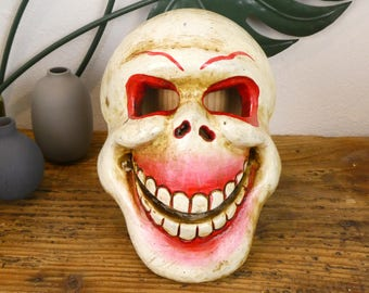 Mask Nepalese carved wood - skull - Nepalese Wooden mask