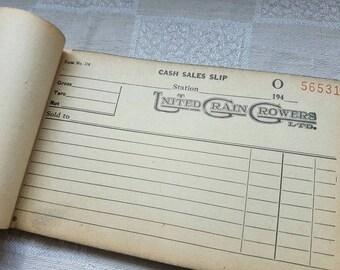 Vintage 1940's United Grain Growers Cash Sales Receipt Book
