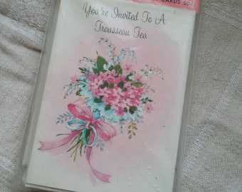 10 pack of Vintage Trousseau Tea Party Invitations with Envelopes