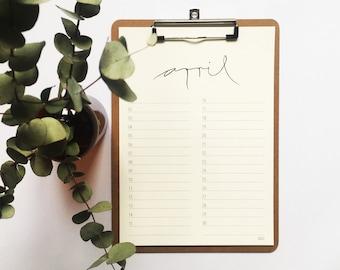 KALENDER with clipboard, birthday calendar, annual calendar, family calendar, planner, perpetual, DIN A4 or DIN A5