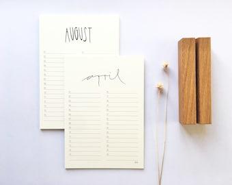 CALENDAR PAGES Birthday calendar, with design clip or clipboard, table calendar, format DIN A5 or A4