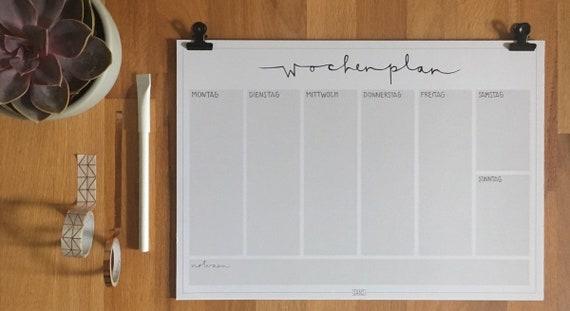 Kühlschrank Wochenplaner : Wochenplaner 10 seiten mit designclips a4 grau etsy