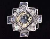 Mother of Pearl Rose Quartz Stone and Shell Inlay Vintage Boho Hippy Belt Buckle