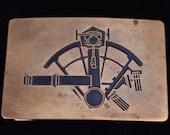 Sextant Sailing Navigator By Stars Solid Brass Vintage Belt Buckle - Ampersand Brass Kalamazoo Michigan