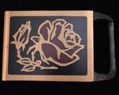 Tech Ether Guild quot Tea Rose quot Solid Brass Vintage Belt Buckle - 1978