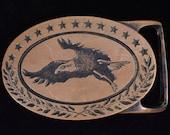 Tech Ether Guild quot Bald Eagle quot Solid Brass Vintage Belt Buckle - 1975